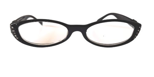 Front view of cat eye reading glasses with rhinestones. Reading glasses in black with crystals on the eyes.