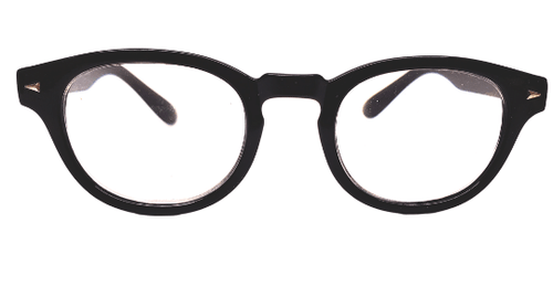 Black reading glasses with an edge front view
