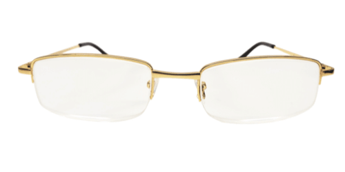 Highest Magnification reading glasses in strength +7.00. Gold Metal half frame readers. Features spring hinges.