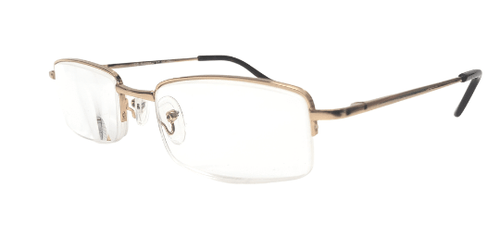 Halfway reading glasses in gold metal with spring hinges side view