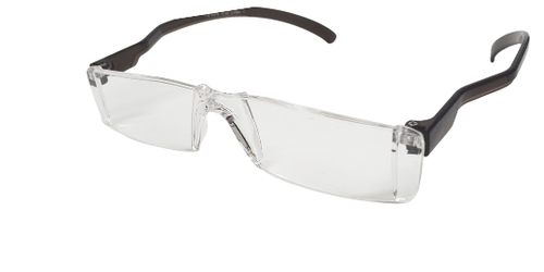Side view of acrylic reading glasses with roomy temple space