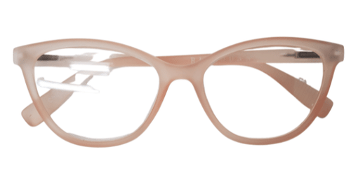 Peach colored cat eye reading glasses, front view of Rae Dunn Reading glasses
