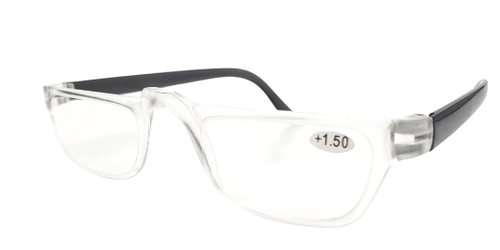 Clear Half Frame Reading Glasses with Black Temples