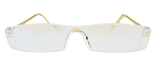 Front View of the Feather Weight Acrylic Reading Glasses. Clear Acrylic reading glasses that are super light weight.