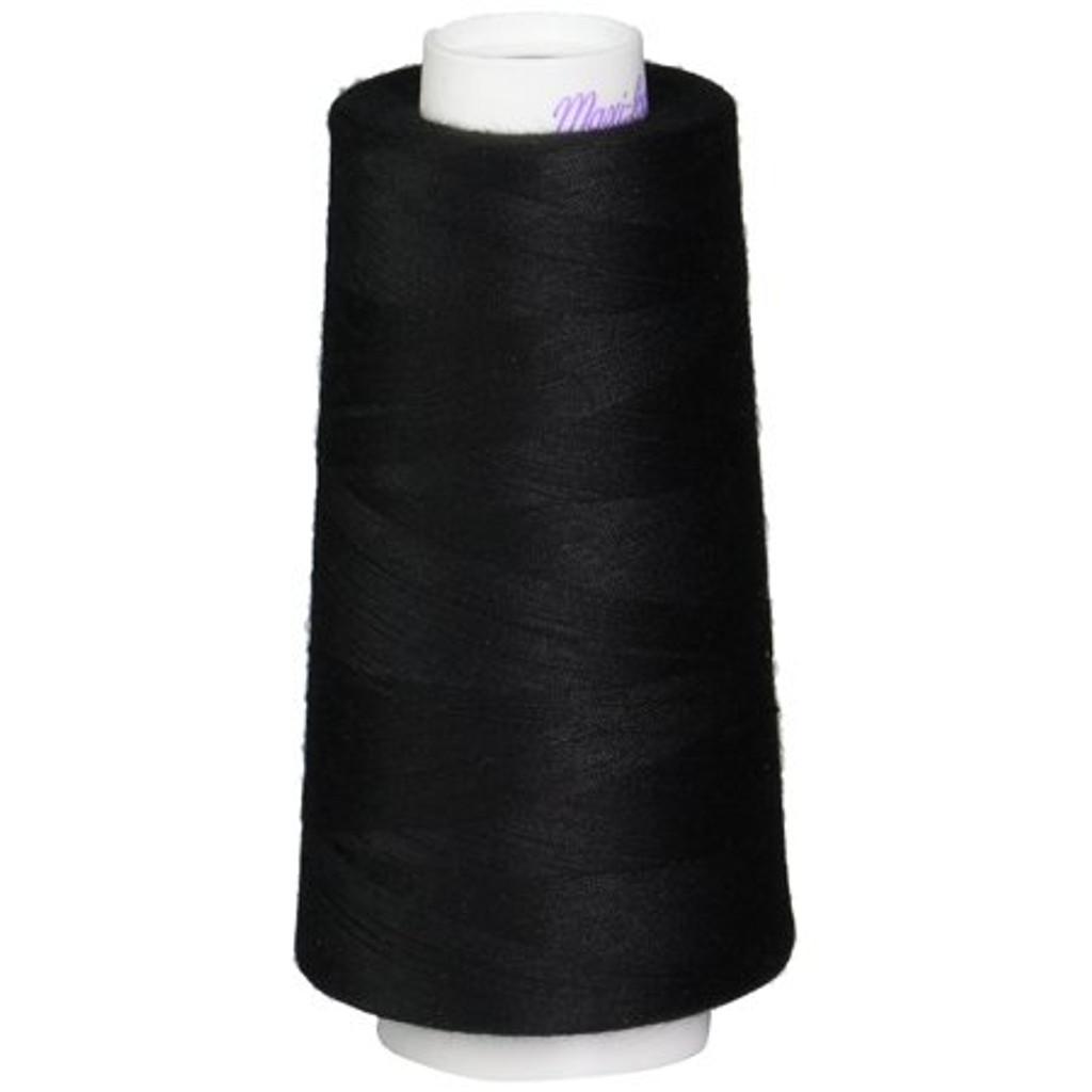Black Maxi-Lock Polyester Serger Thread 50wt - Large Cone
