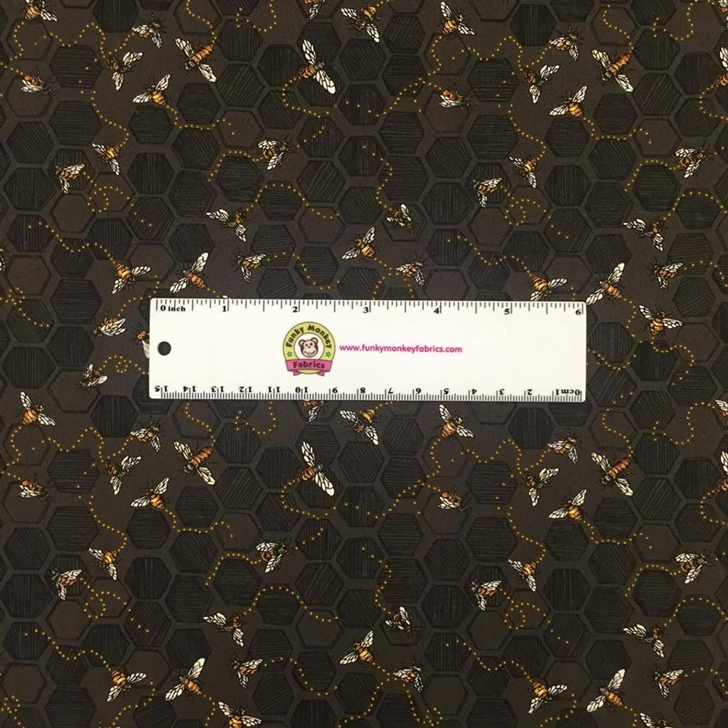 Bees on Charcoal Grey - Paintbrush Studio Cotton - (120-99221)