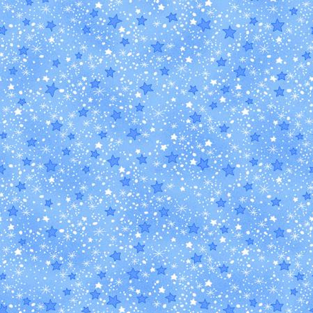 Blue Mini Sparkle Stars - AE Nathan Flannel - 1/2 yard