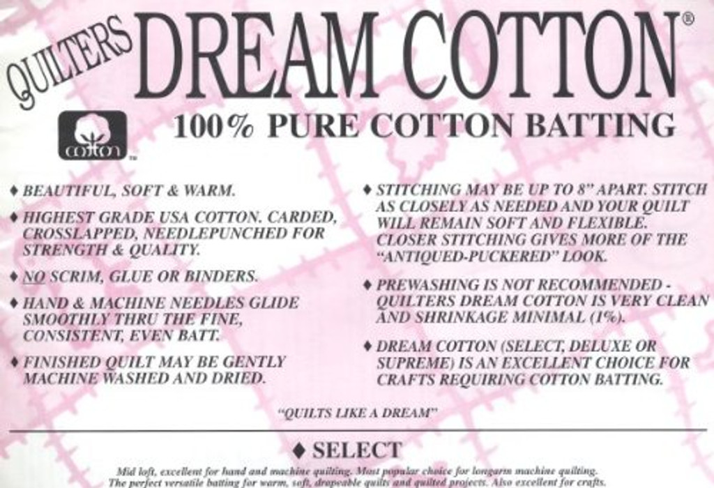 "Quilter's Dream 100% Cotton Batting - 120"" wide - 1/2 yard"