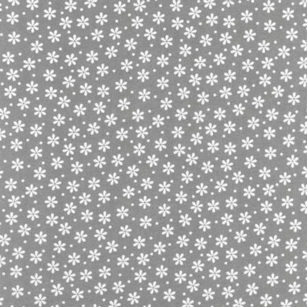 White Flowers & Dots on Grey - Robert Kaufman Flannel - 1/2 yard