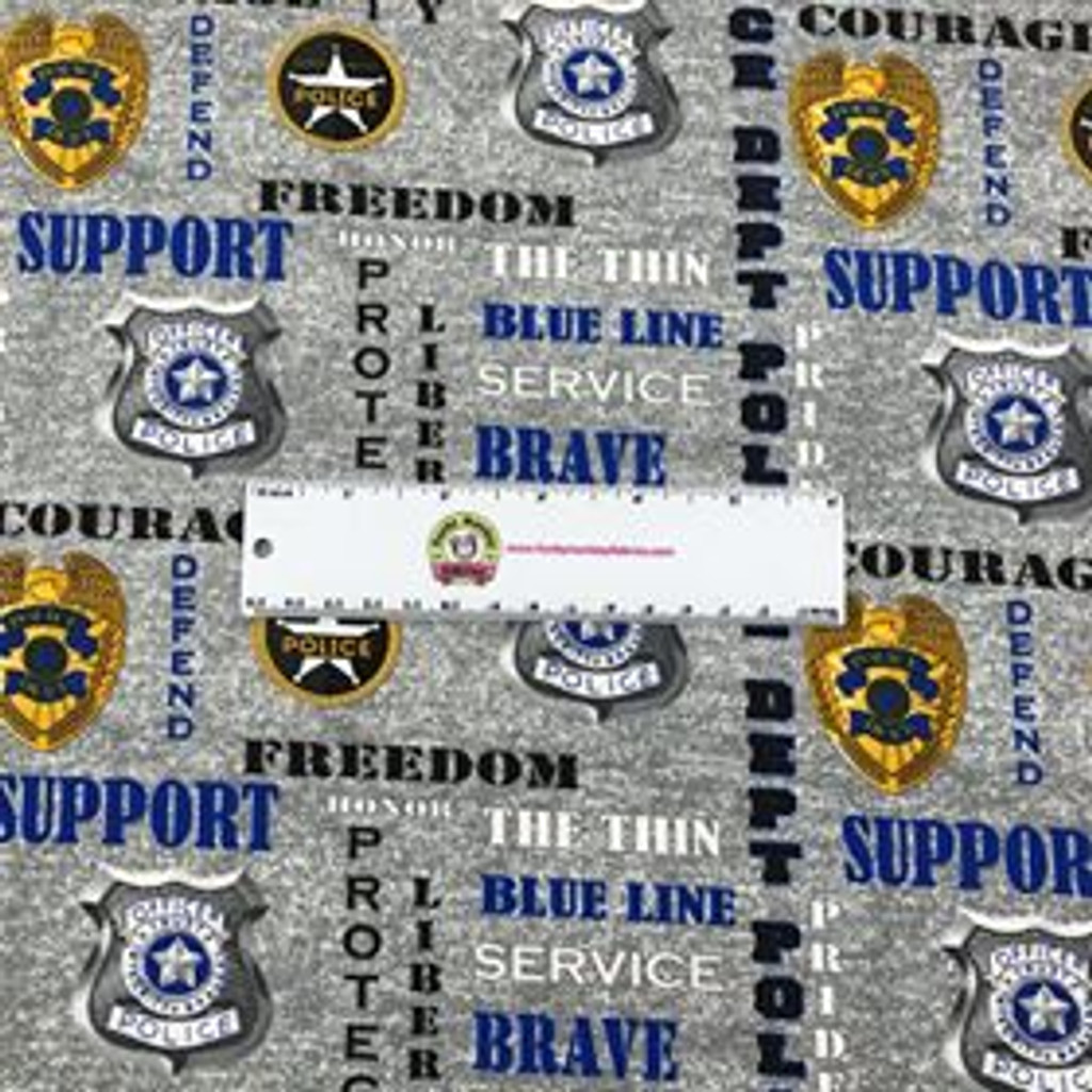 Police Department Badges on Grey - Sykel Cotton (Police-1181)