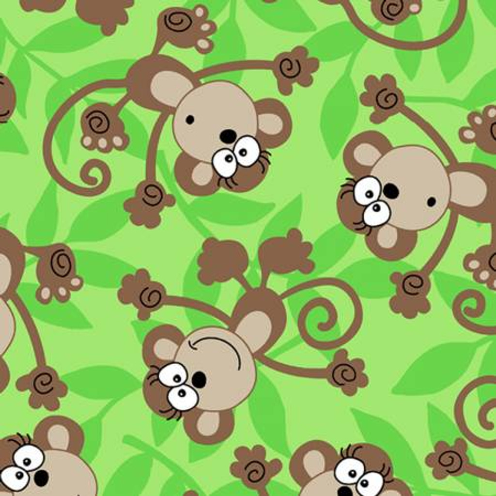 Monkeys on Green Fleece - 1/2 yard