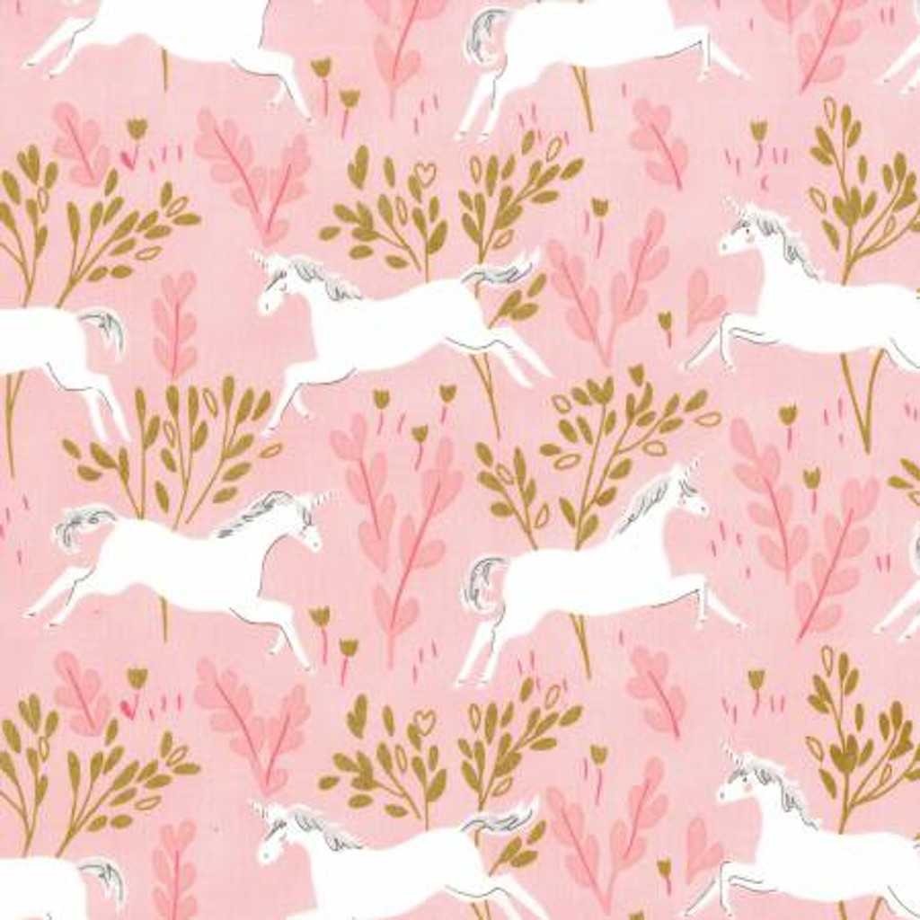 Blossom Unicorn Forest with Metallic - Magic by Sarah Jane - Michael Miller Cotton