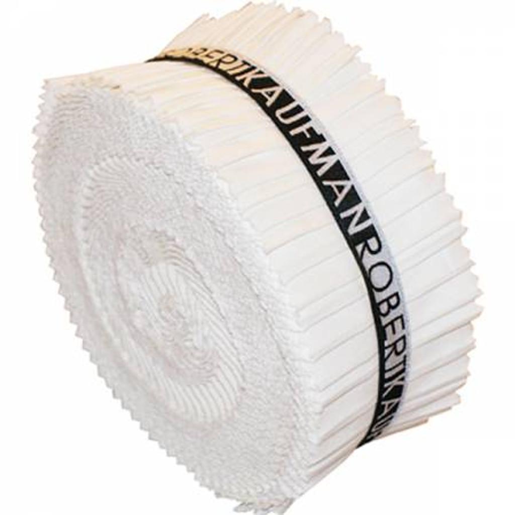 Jelly Roll - White Kona Solids - 40 pieces - Robert Kaufman Cotton (RU-190-40)