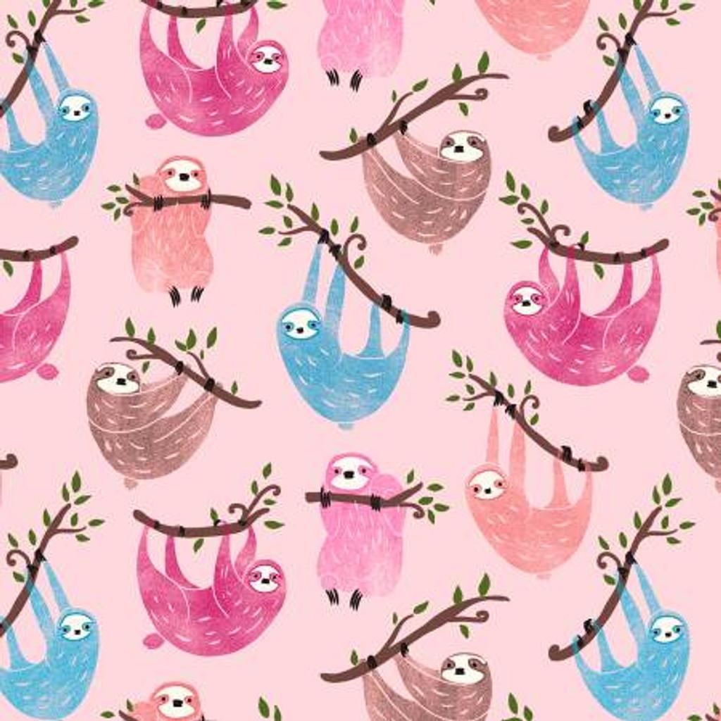 Pink Sloths Just Hanging - Timeless Treasures Cotton (C6611-PNK)
