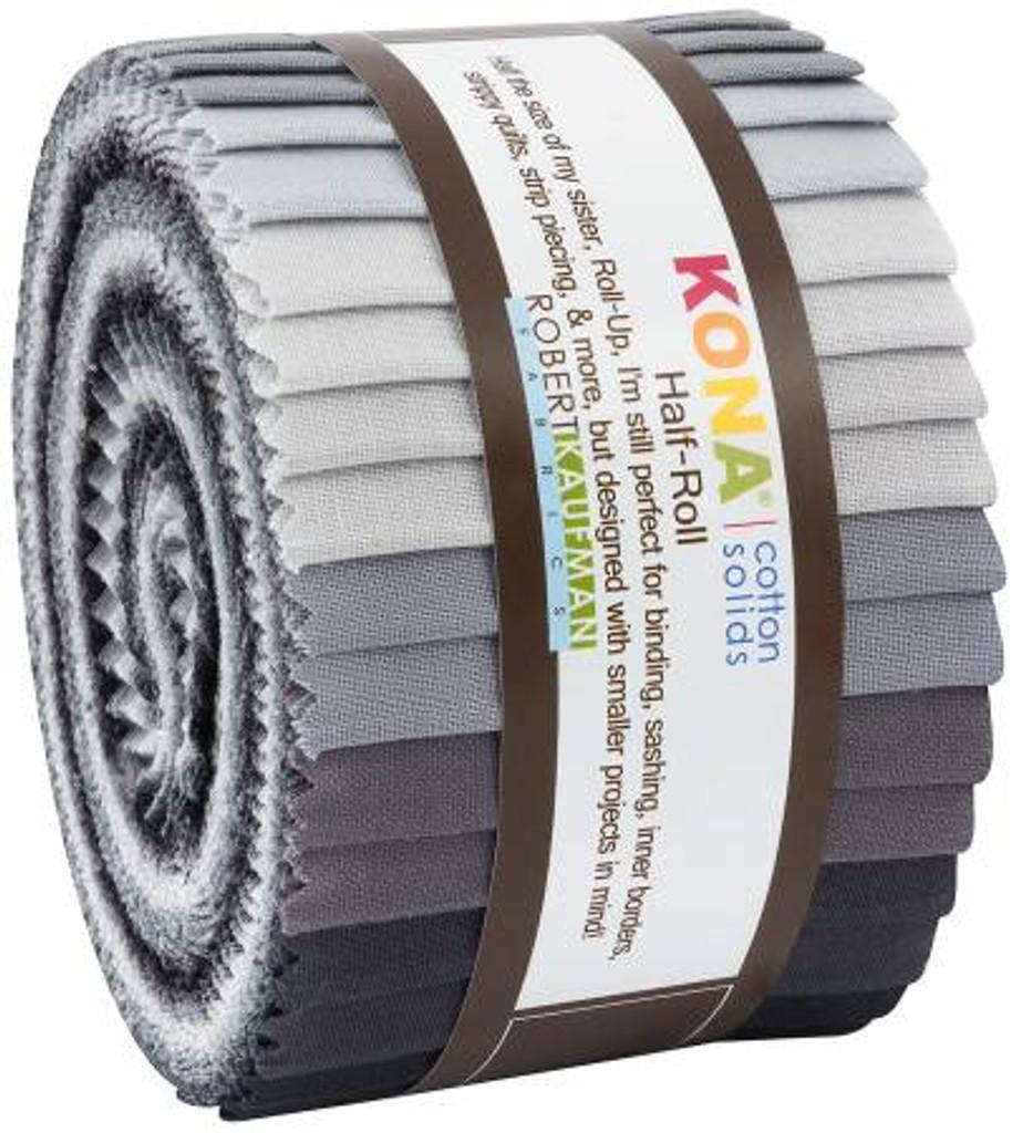 Jelly Roll - Kona Solids Stormy Skies - 24 pieces - Robert Kaufman Cotton ( HR-146-24)