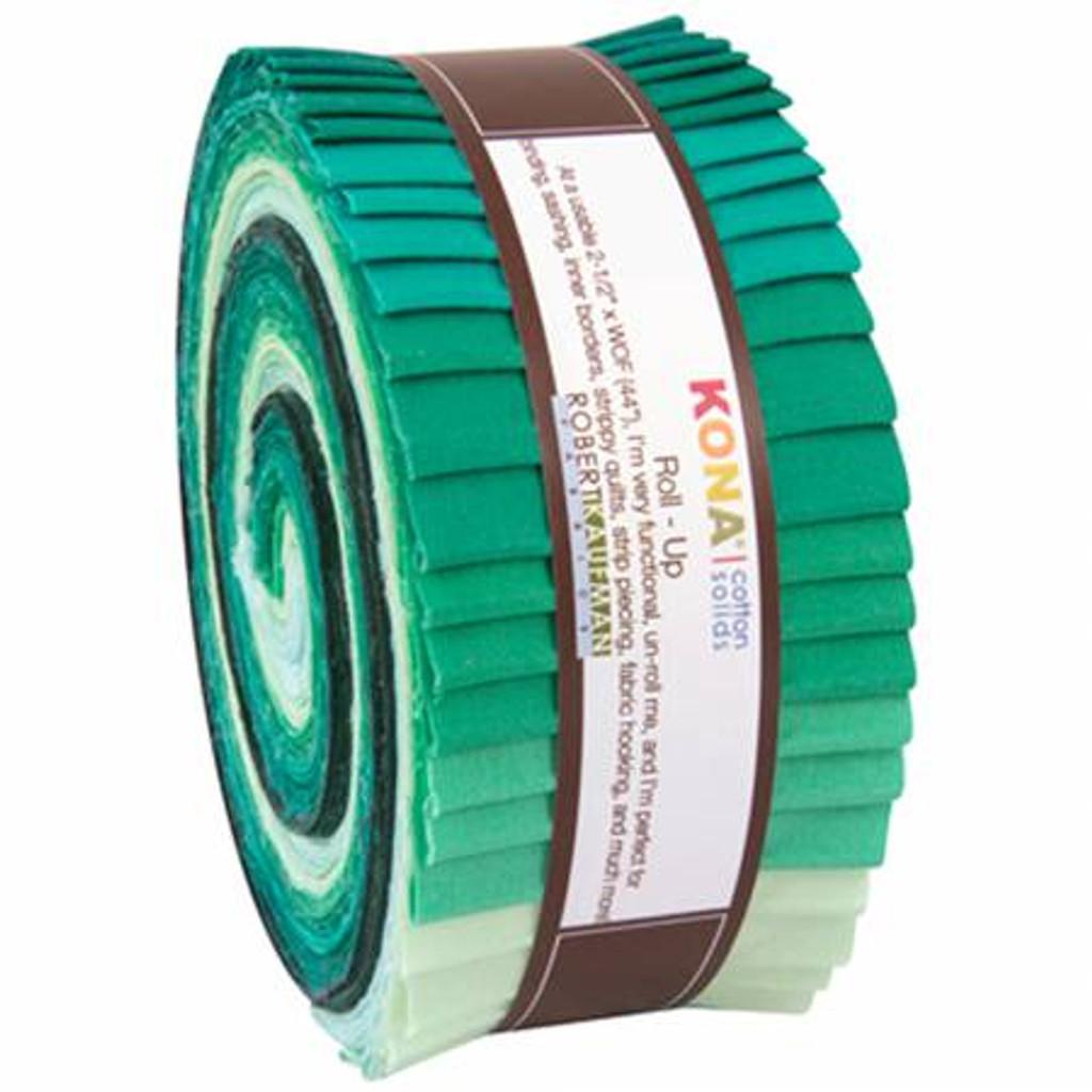 Jelly Roll - Lush Lagoon Kona Solids - 40 pieces - Robert Kaufman Cotton (RU-441-40)