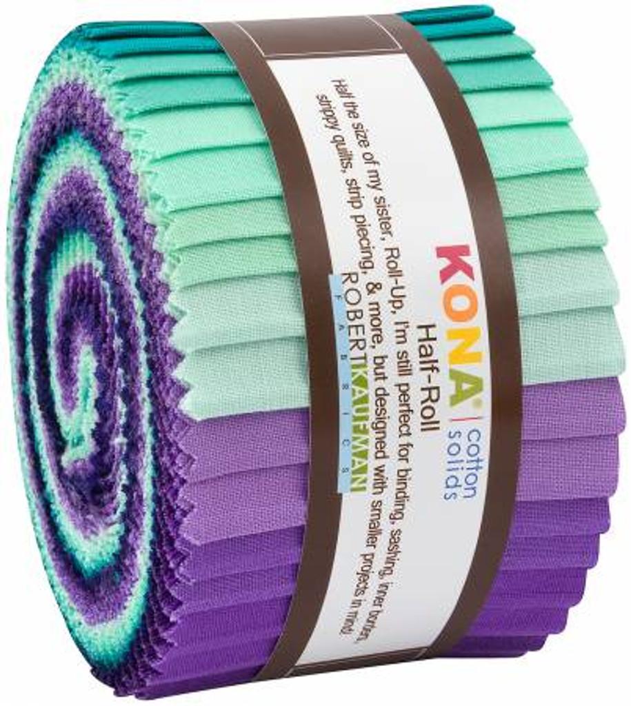Jelly Roll - Kona Solids Aurora - 24 pieces - Robert Kaufman Cotton (HR-155-24)