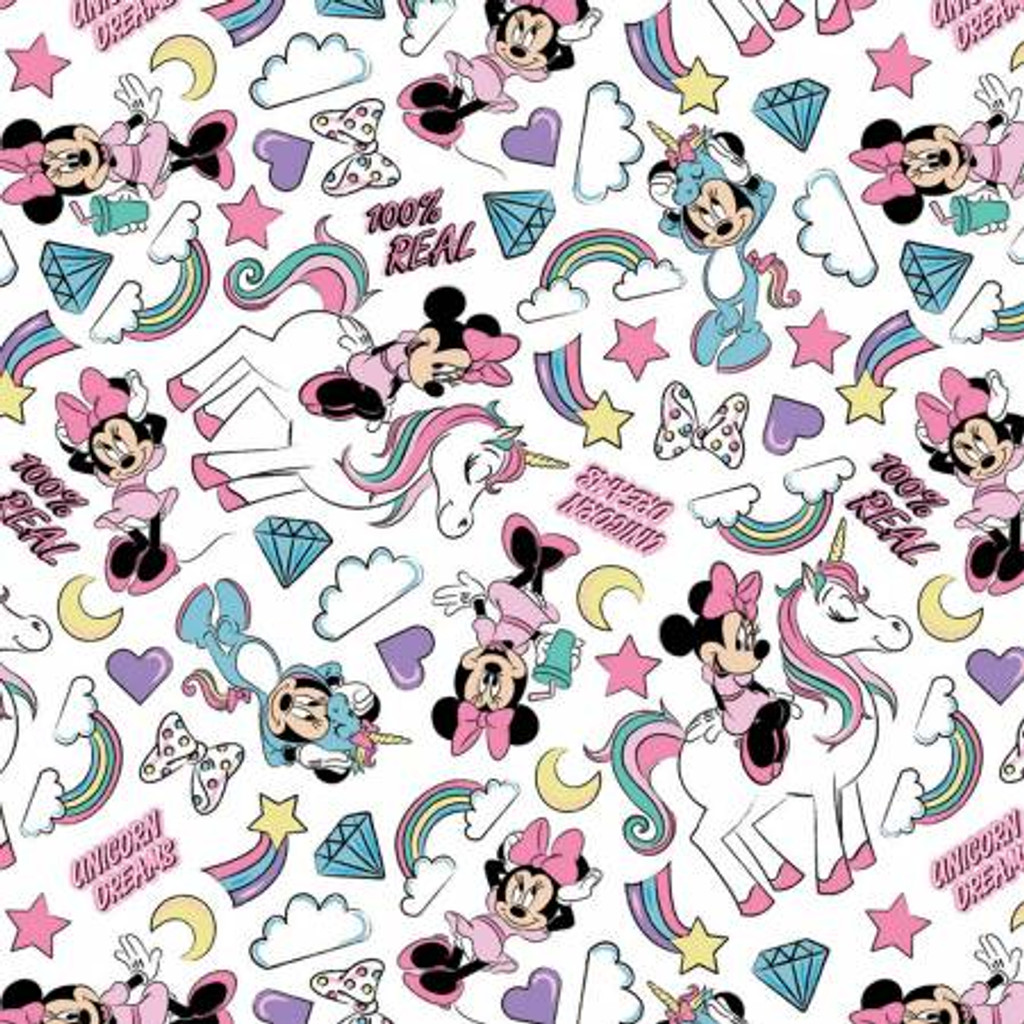 Minnie Mouse I Believe In Unicorns - Camelot Flannel  (85270801B-1)