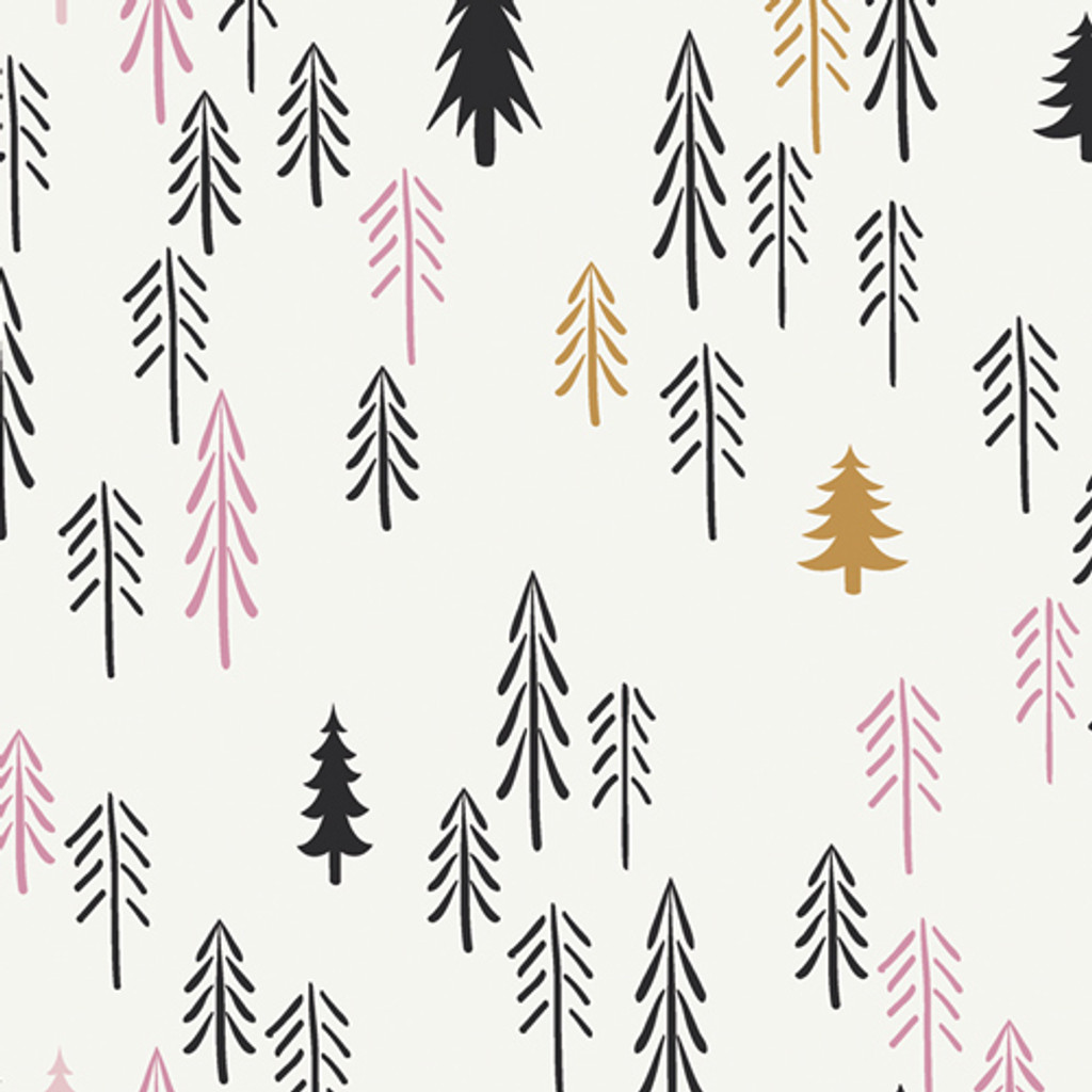 Loblolly Wood Trees (Pink/Gold) - Art Gallery Knit (KC-1307)