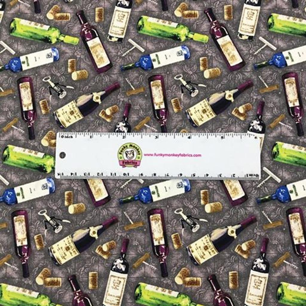 Grey Win Bottles - Paintbrush Studio Cotton (120-16101)