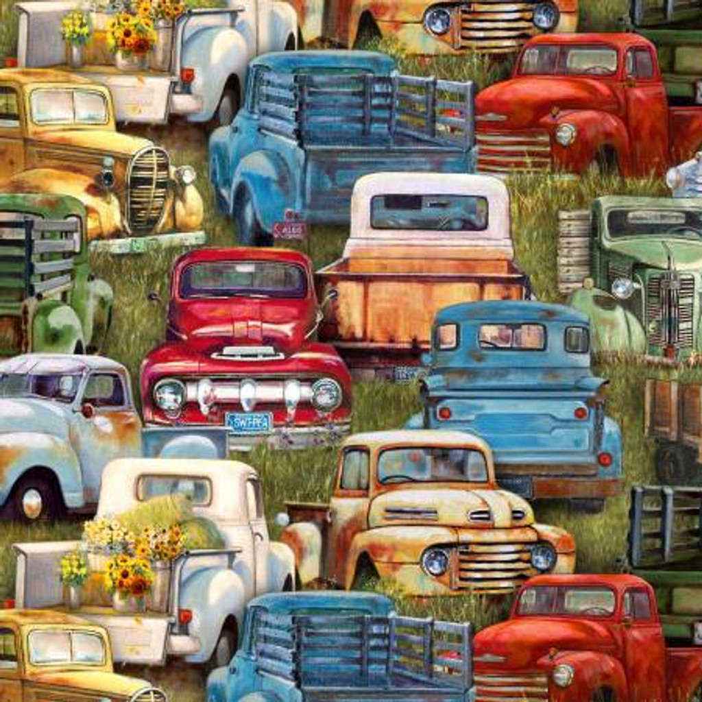 Green Vintage Trucks Packed - Elizabeth's Studio Cotton (21002E-GRN)