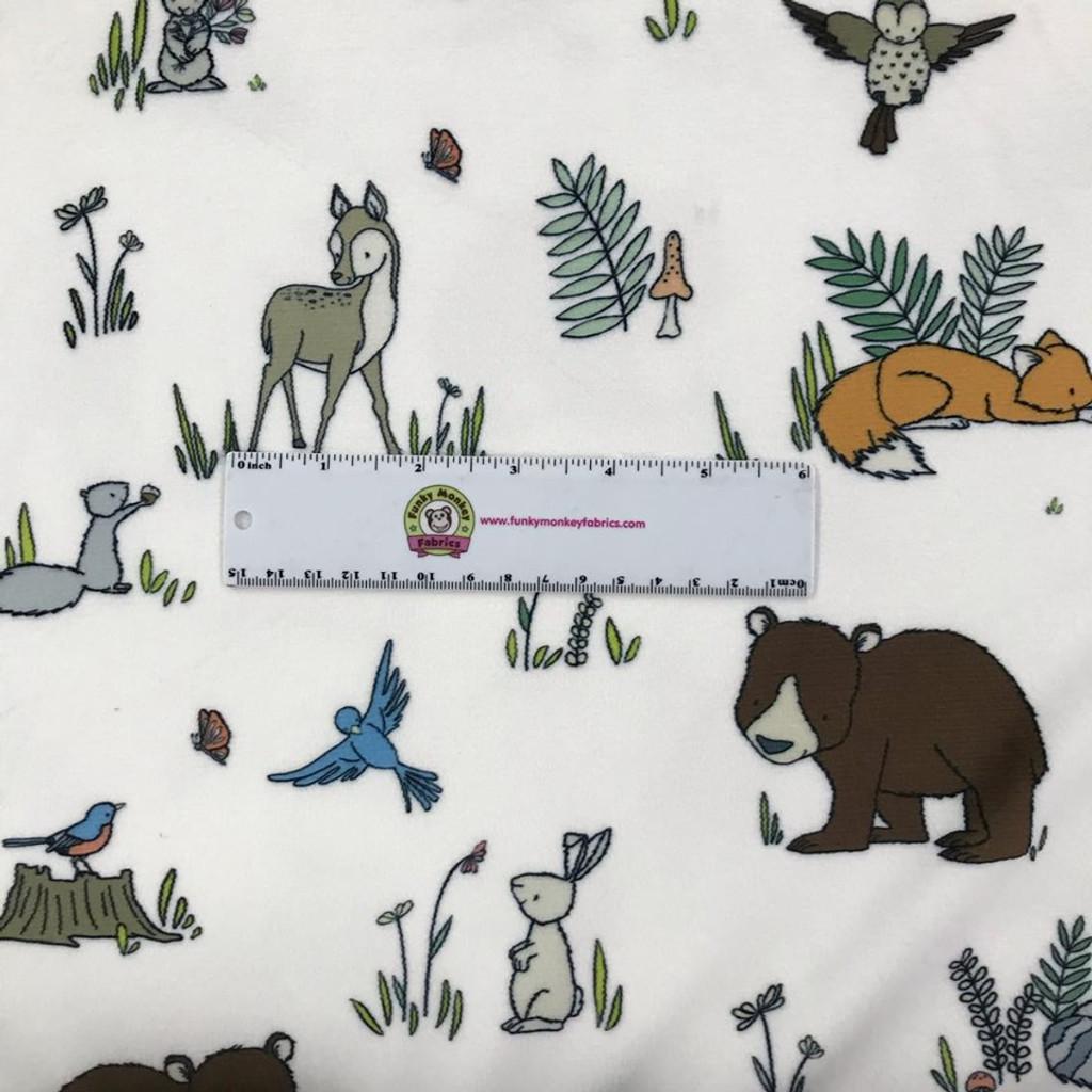 Woodland Pals Digital Snow - Shannon Fabrics Minky