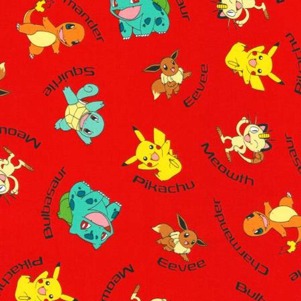 Pokemon on Red - Robert Kaufman Cotton  (72015-3)