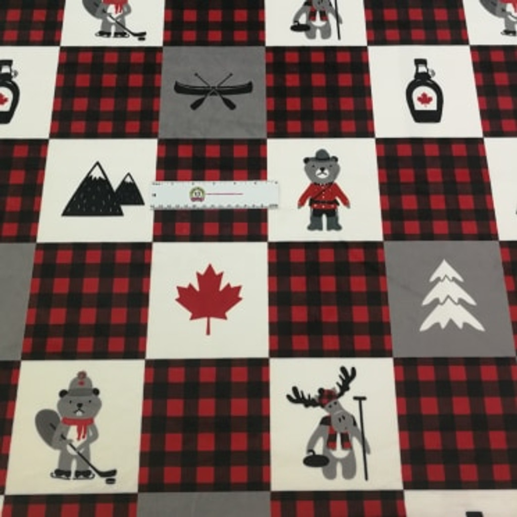 Canadian Patchwork Funky Monkey Exclusive - Shannon Fabrics Minky