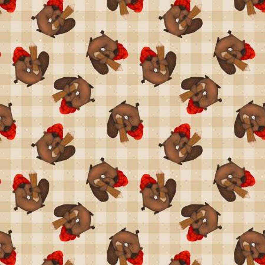 Beige Tossed Beavers- Henry Glass Cotton -1/2 yard