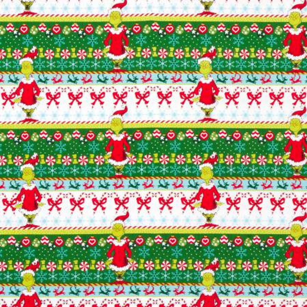 Border Stripe Dr. Seuss How the Grinch Stole Christmas - Robert Kaufman Cotton - 1/2 yard (ADE733301)
