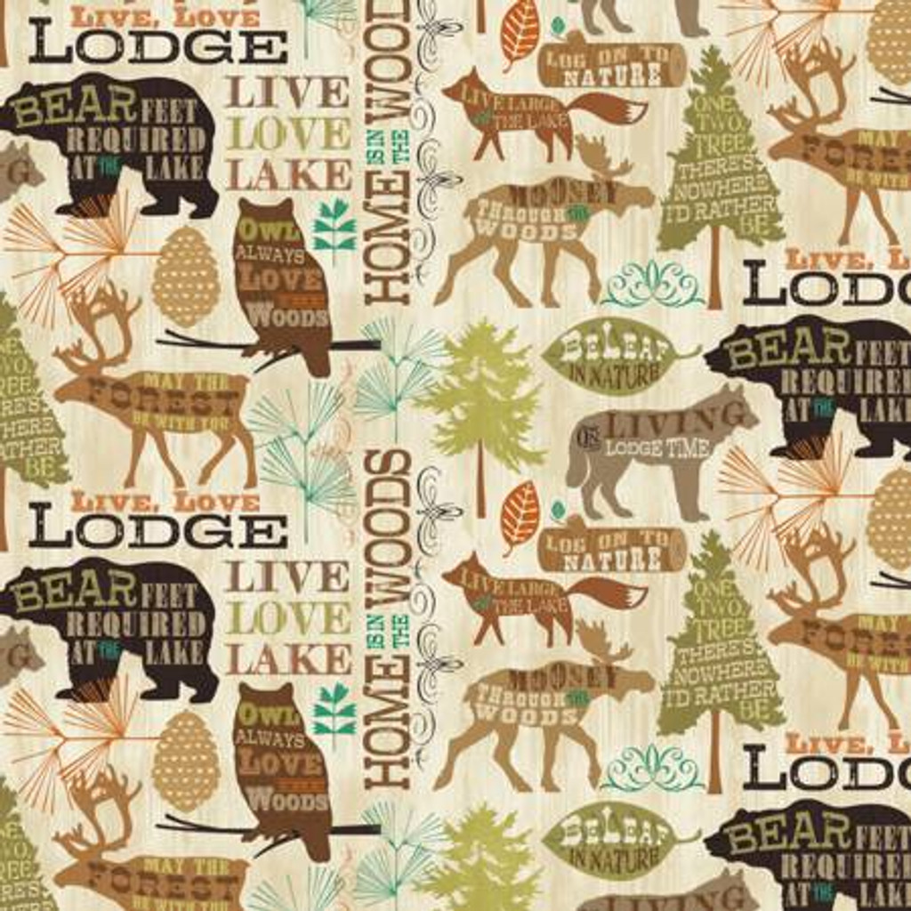 Cream/Brown Live, Love, Lodge - David Textiles Cotton - 1/2 yard