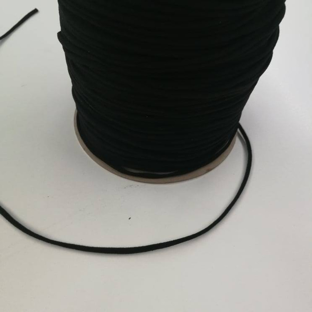 3mm Black Round Elastic - 1/2 yard