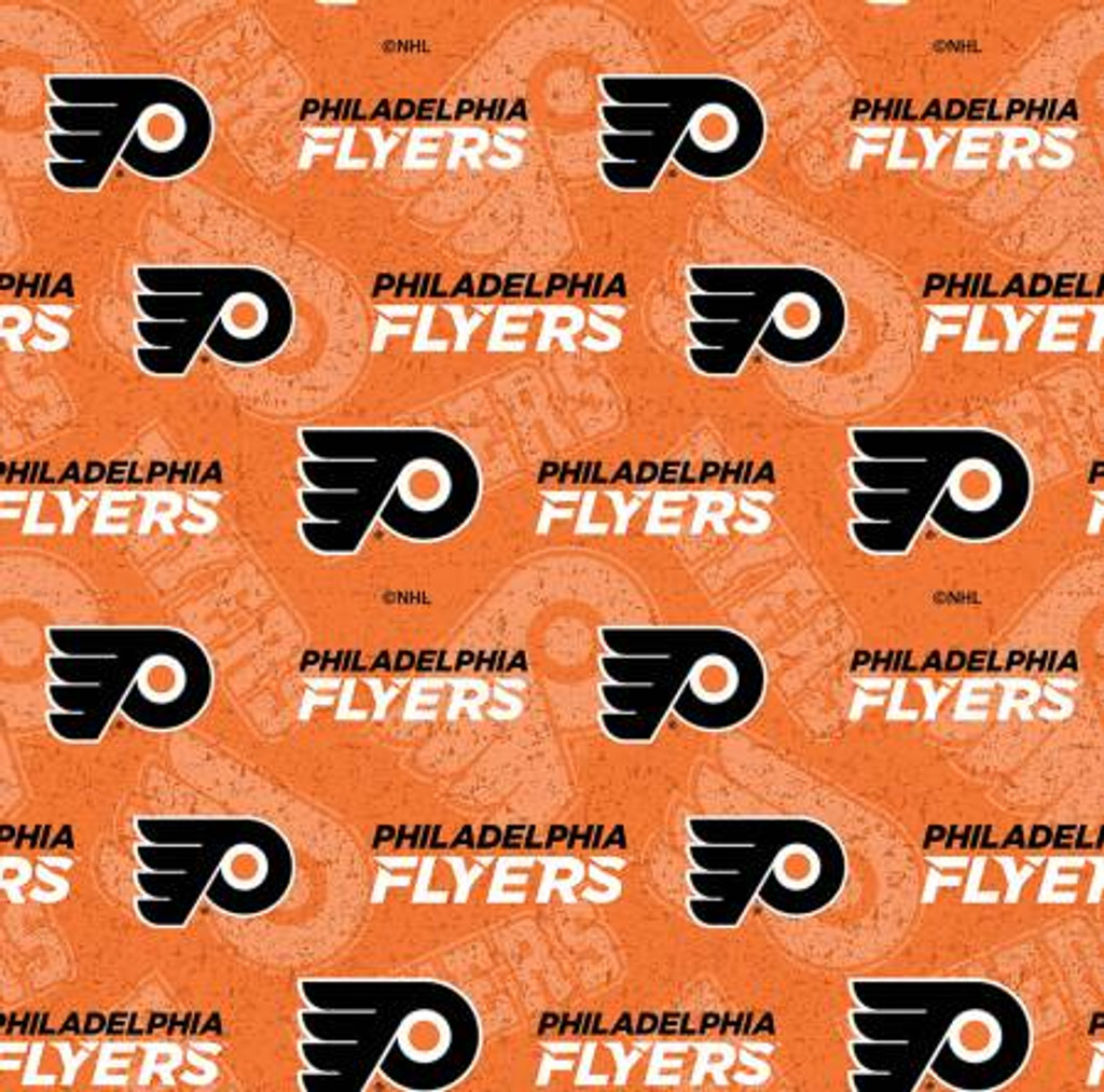 NHL Hockey Philadelphia Flyers Tone on Tone Cotton - Sykel Enterprises - 1/2 yard