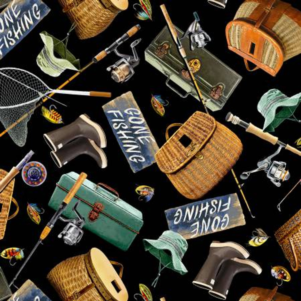 Black Gone Fishing Toss - Timeless Treasures Cotton - 1/2 yard ( C6403-BLK)