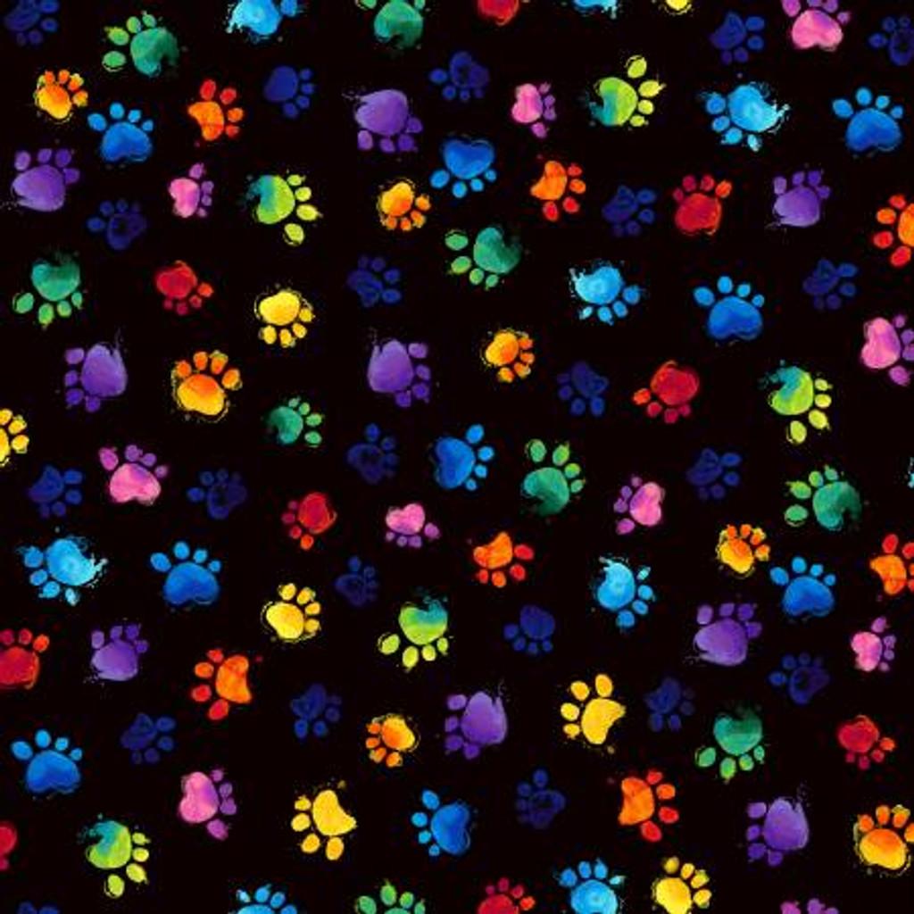 Rainbow Paw Prints - Timeless Treasures Cotton - 1/2 yard (C7487-BLACK)