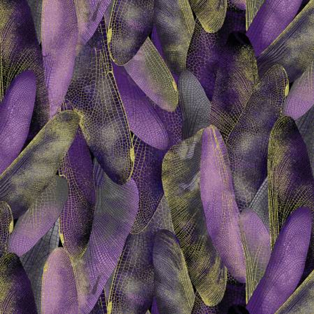 Purple Gilded Wings w/Metallic - Kanvas Cotton - 1/2 yard (8501MB-68)