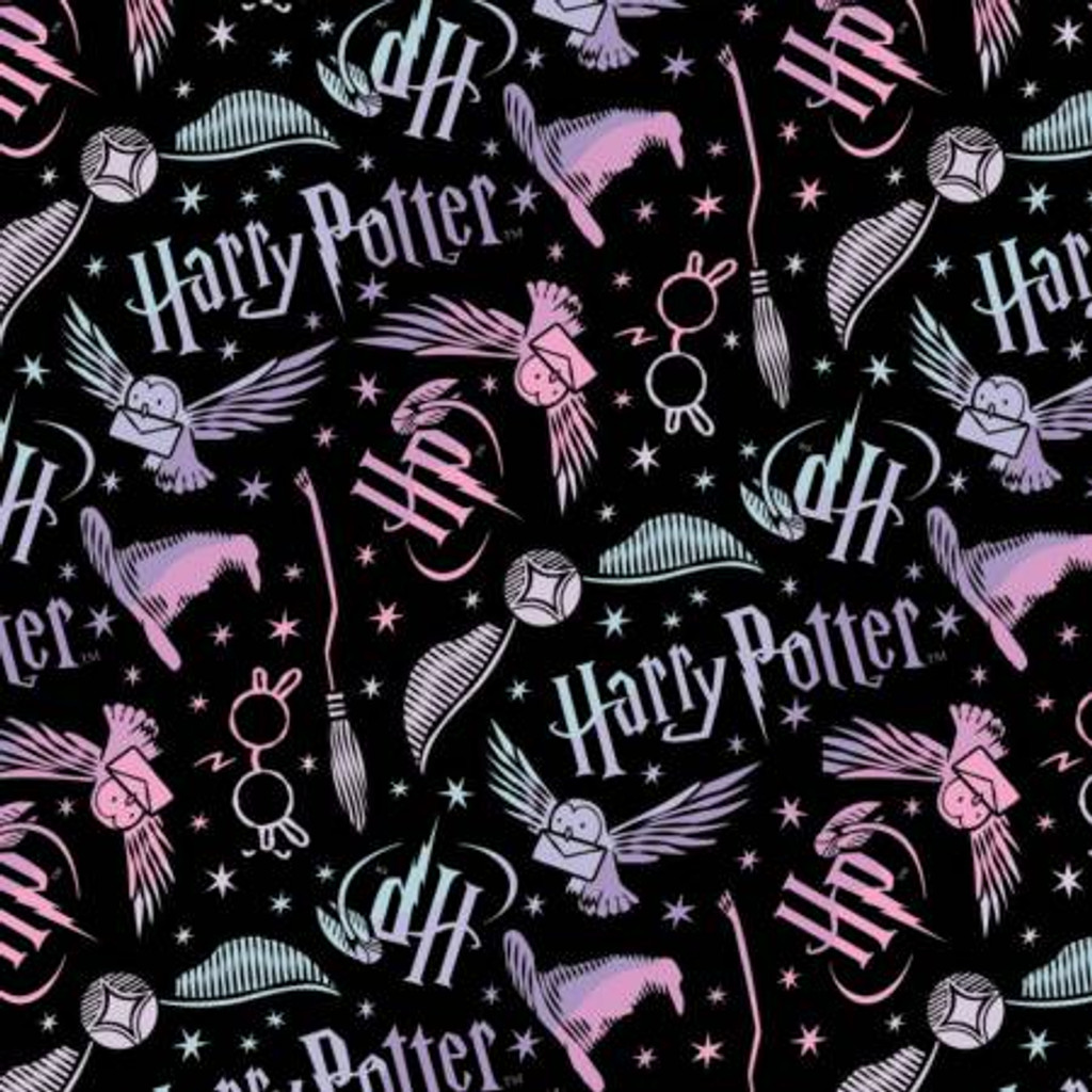 Black Ombre Harry Potter Tossed Elements - Camelot Flannel - 1/2 yard (23800591B-1)