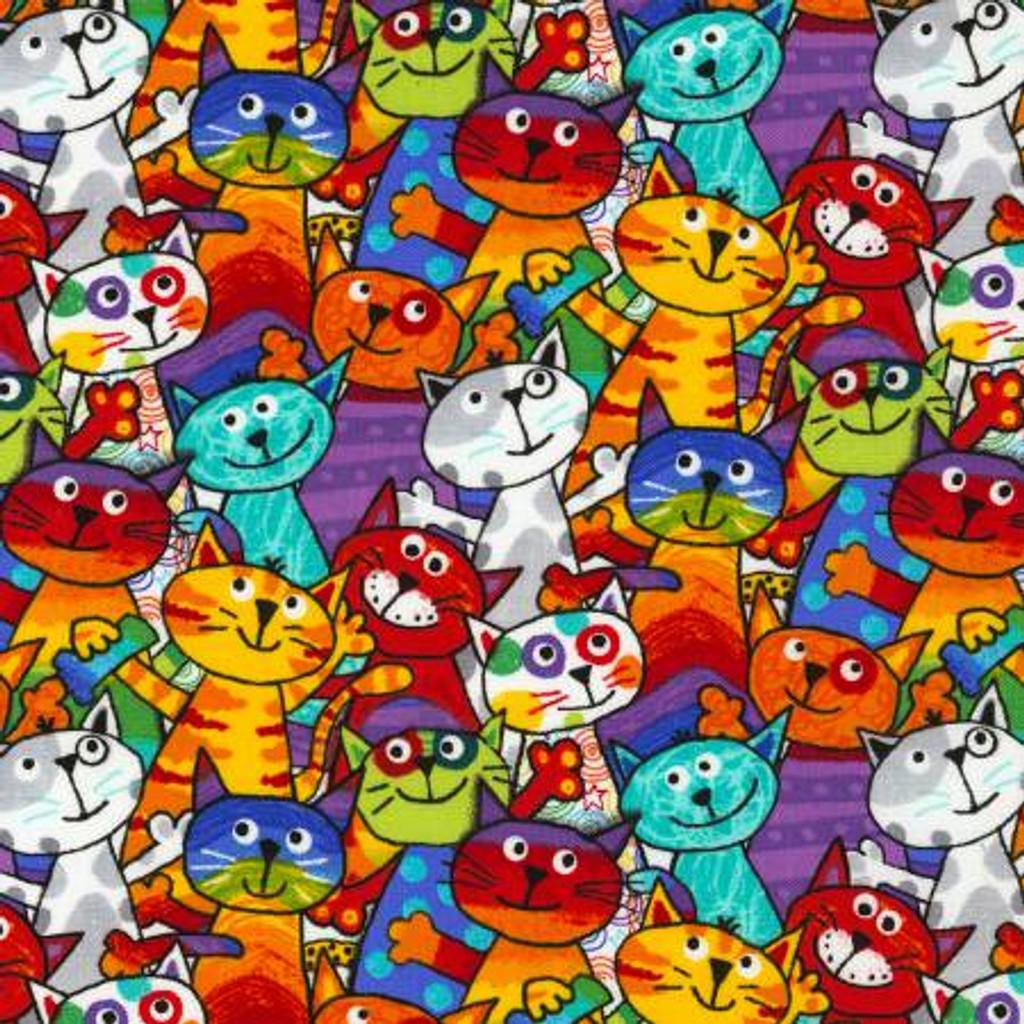 Multi Cartoon Cats - Timeless Treasures Cotton - 1/2 yard (C6341-MLT)
