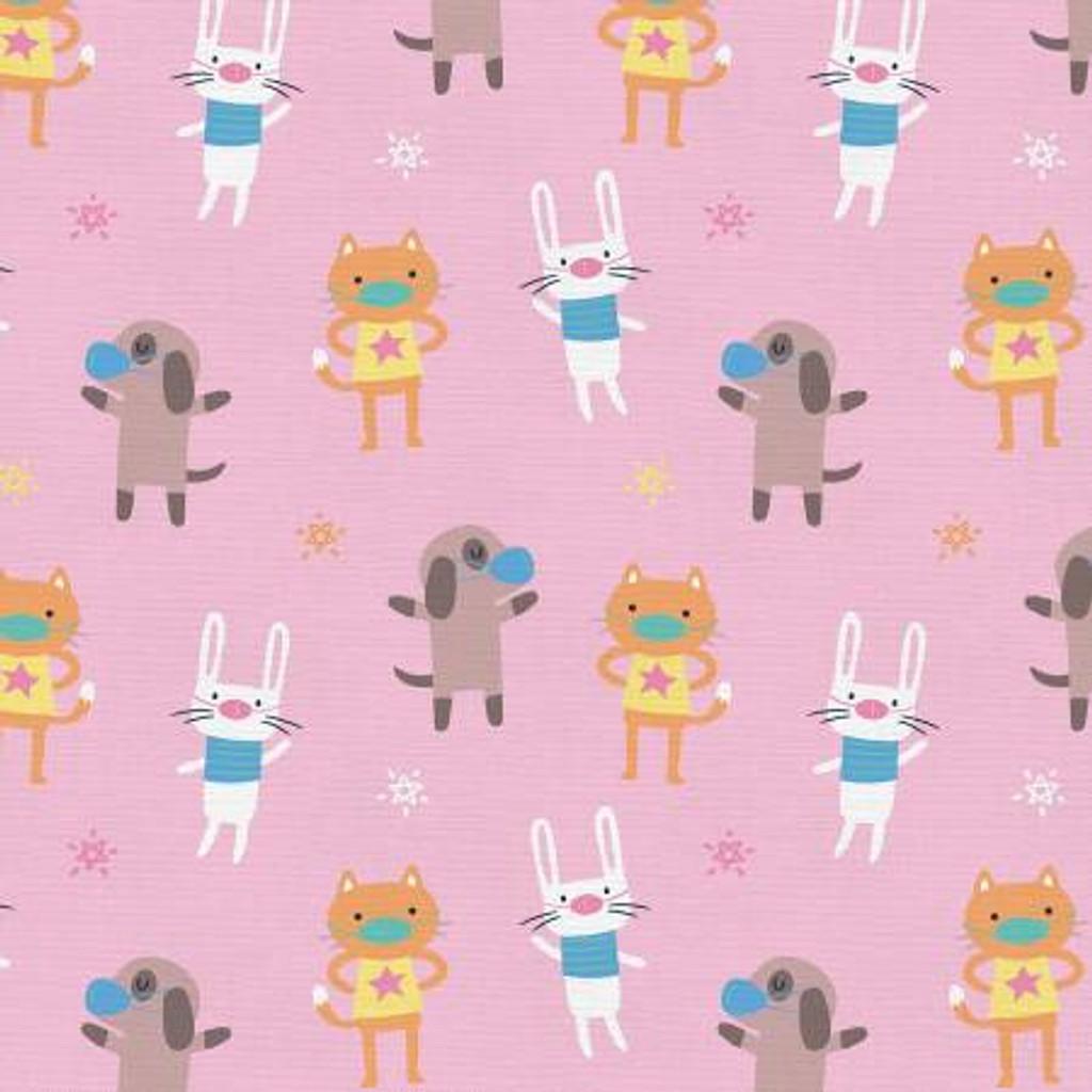 Mask Up Cat Dog Bunny - Paintbrush Studio Cotton - 1/2 yard