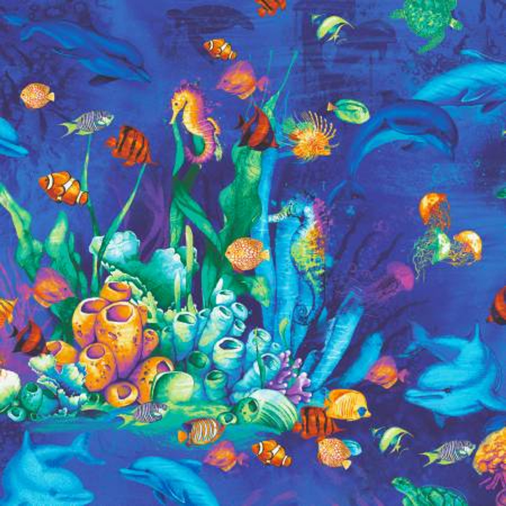 Multi Ocean and Coral Sealife - Timeless Treasures Cotton - 1/2 yard ( C8029-MLT)