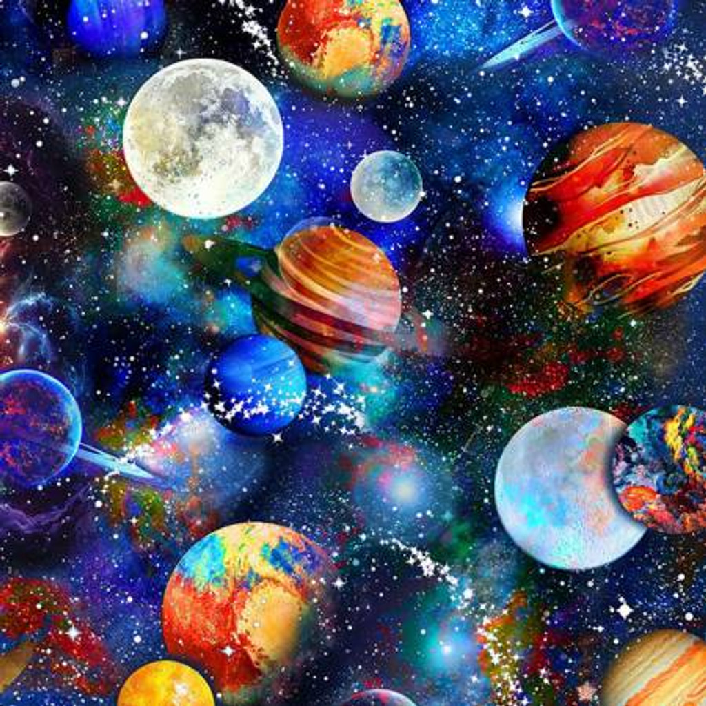 Multi Space Planets - Timeless Treasures Minky - 1/2 yard (PD8233-MULT)