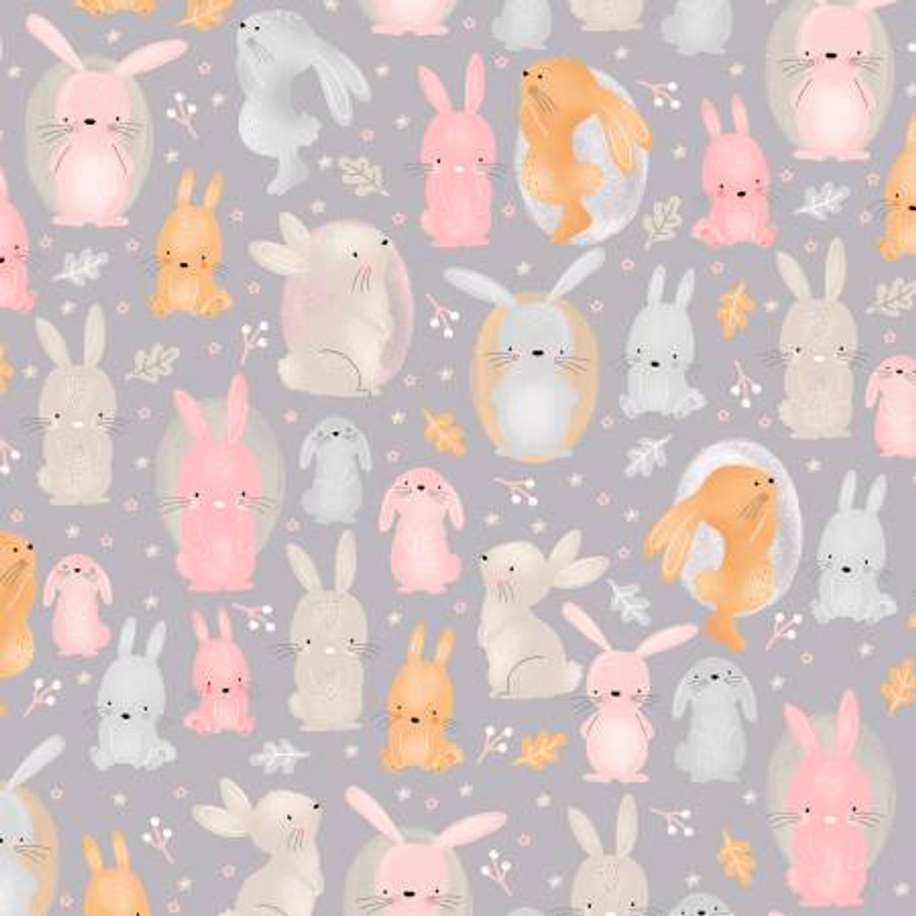 Grey Bunnies - AE Nathan Flannel - 1/2 yard (0908AE-90)