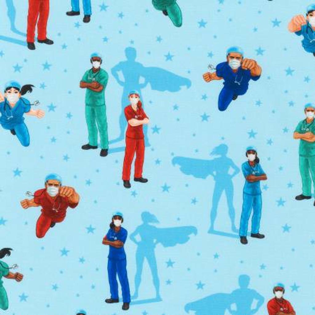 Blue Frontline Heroes Digitally Printed - Robert Kaufman Cotton - 1/2 yard (SRK203354)