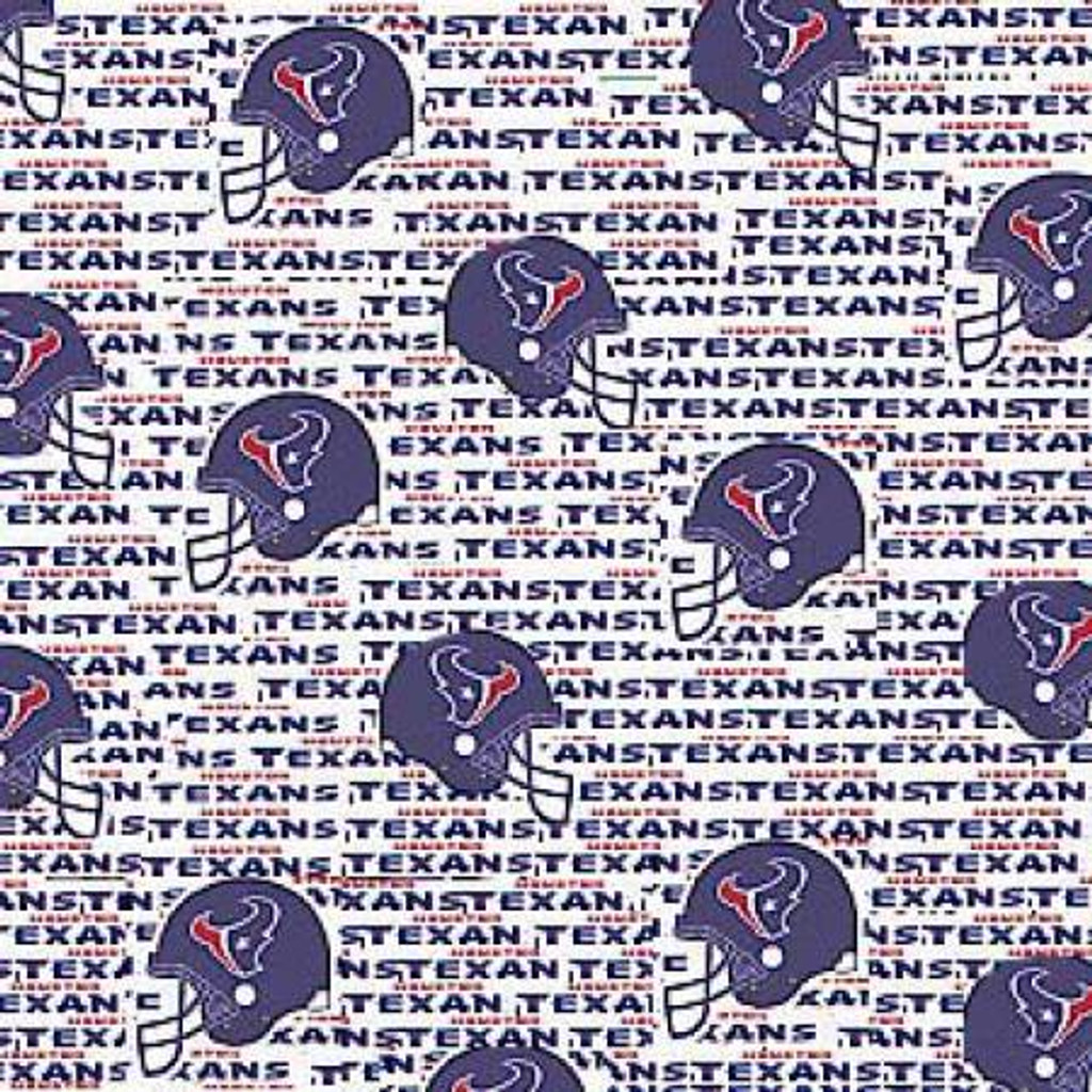 """NFL White Houston Texans 60"""" Wide - Fabric Traditions Cotton - 1/2 yard (6188-W)"""