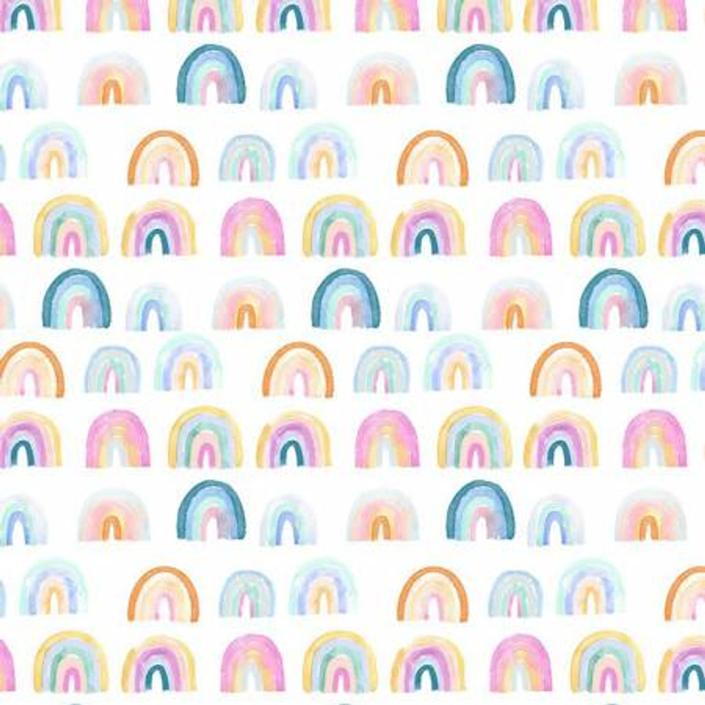 White Rainbows - Dear Stella Minky - 1/2 yard ( ST-PCJ1743WH)