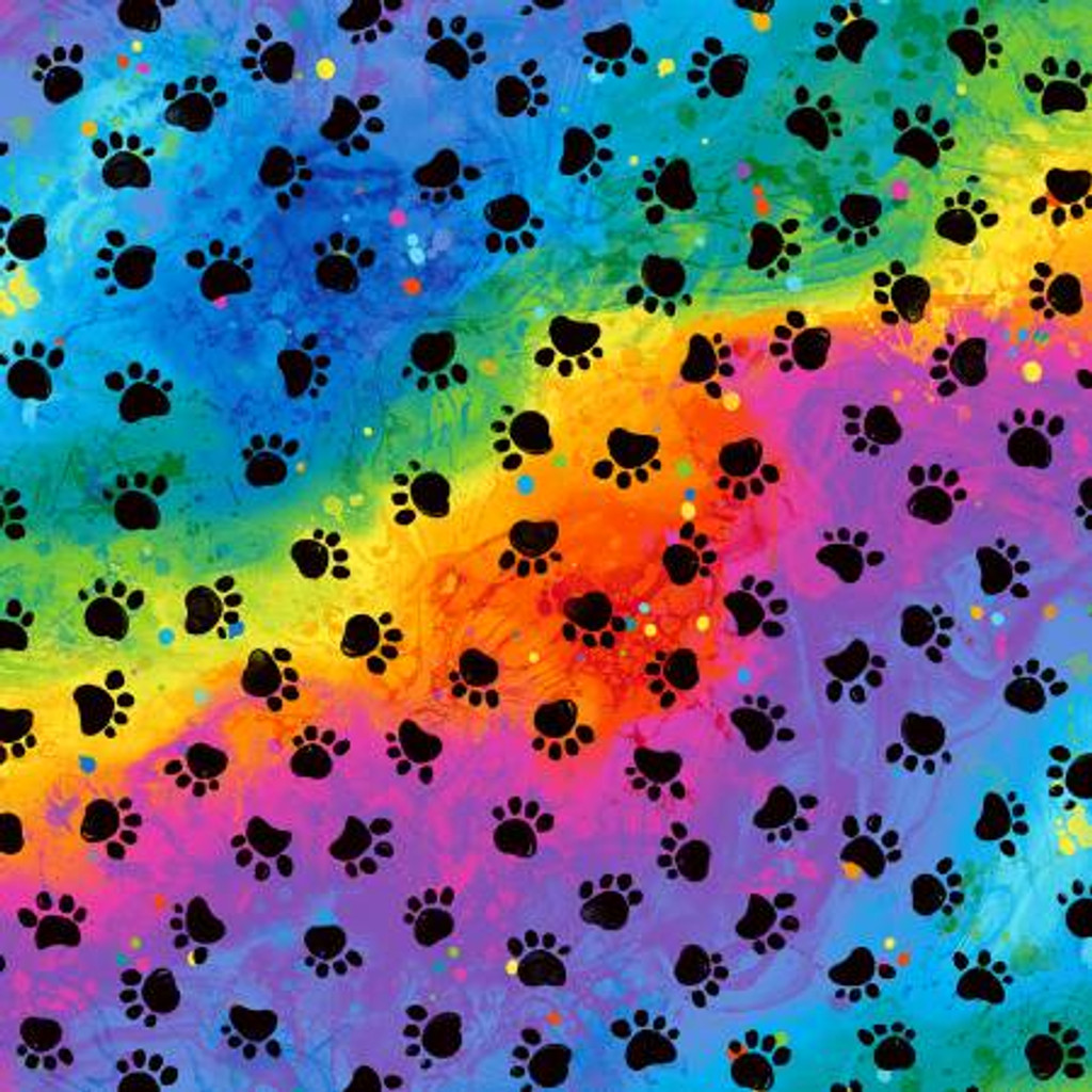 Black Paw Prints on Rainbow Background - Timeless Treasures Cotton - 1/2 yard (C7486-RAINB)