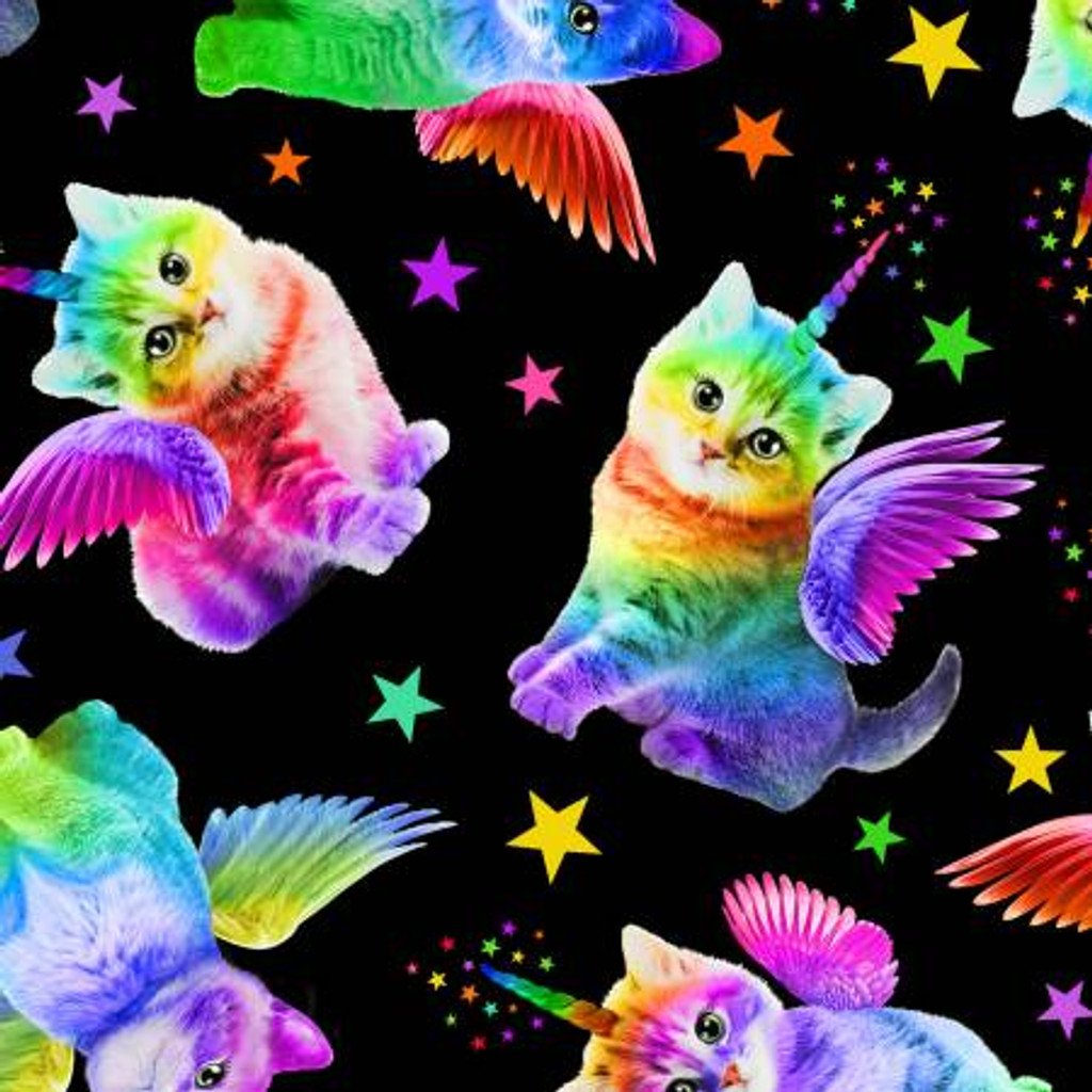Multi Unicorn Cats - Timeless Treasures Cotton - 1/2 yard (C7198-BLK) Your image was added to the product.