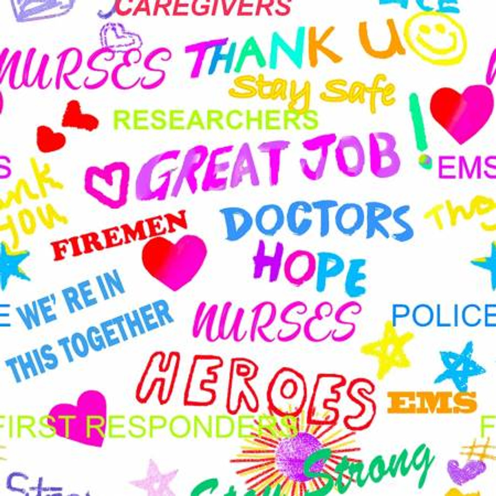 White Thank You Heroes - Sykel Cotton - 1/2 yard (10349-WHT)