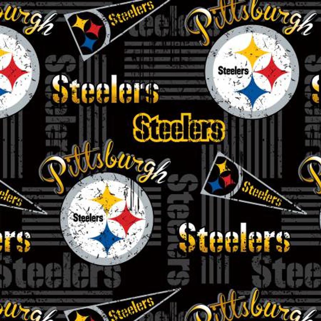 "Fancy Black NFL Pittsburg Steelers 60"" Wide Cotton - 1/2 yard (14450-D)"