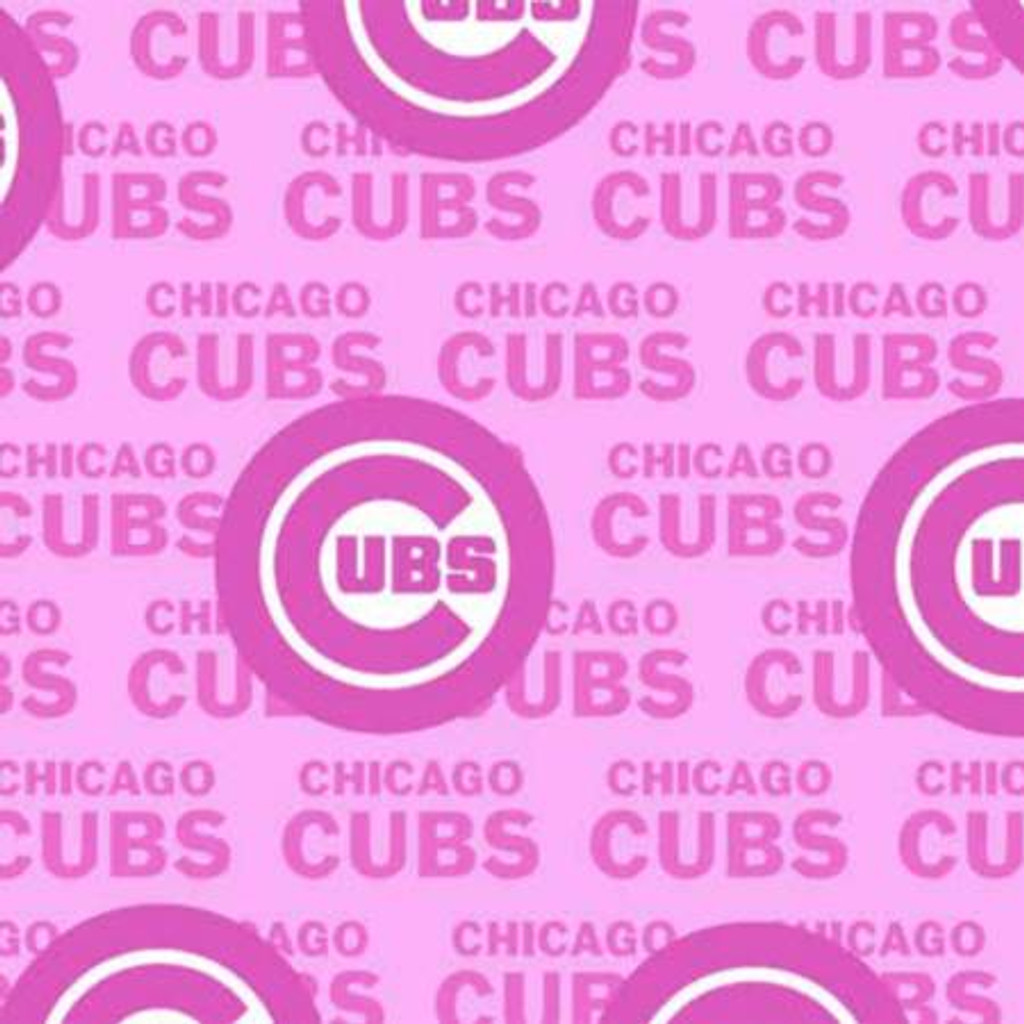 """Pink MLB Chicago Cubs 60"""" Wide Cotton - 1/2 yard (60397-B)"""